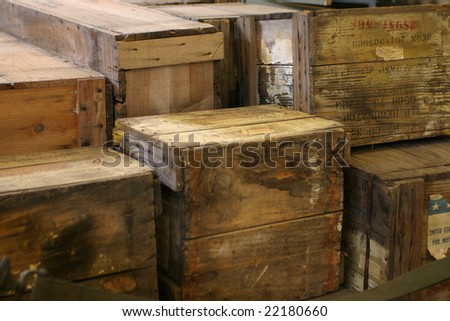 Stacked army boxes ready for transportation