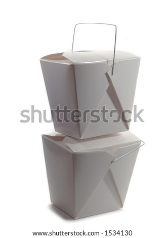 Stacked asian take out boxes isolated on white - stock photo