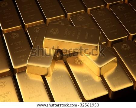 Stacked bars of gold bullion. - stock photo