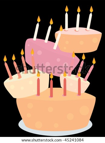 Stacked birthday cakes - jpg version - stock photo