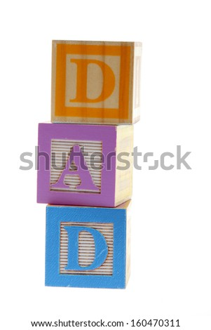 """Stacked Blocks Spelling """"Dad"""" on white background on Education - stock photo"""