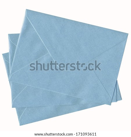 stacked blue mail isolated on white background  - stock photo