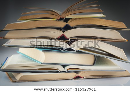 stacked books group to study and read - stock photo