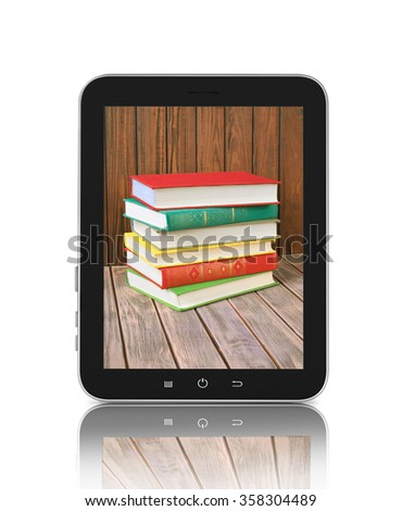 stacked books in the monitor of a touch screen - stock photo