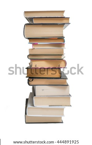 Stacked books isolated on white background.