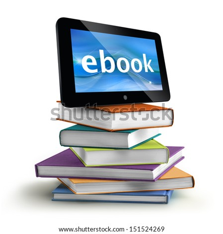 stacked books with a tablet on top - stock photo