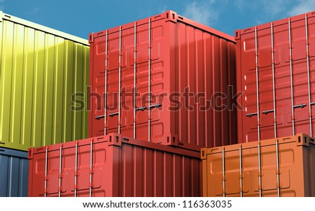 Stacked color cargo container over blue sky - stock photo