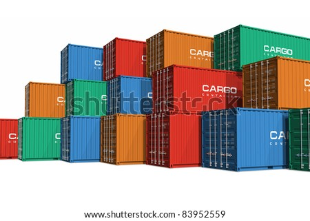Stacked color cargo containers isolated on white background - stock photo