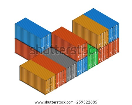 Stacked colorful metal freight shipping containers in a row isolated on white. 3d illustration, isometric projection  - stock photo