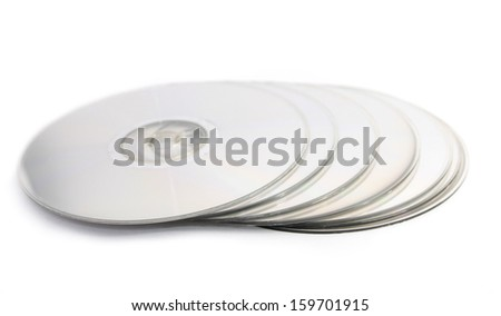 Stacked compact discs - stock photo
