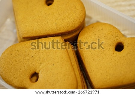 Stacked cookies in heart shape - stock photo