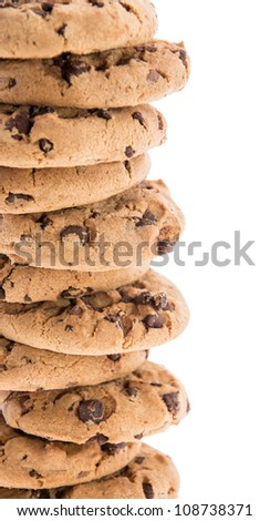 Stacked Cookies isolated on white background - stock photo