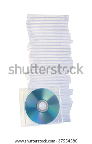 Stacked empty jewel cases with one case on its side - stock photo