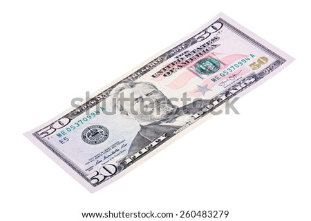Stacked end isolated of the fifty dollars bill. Photo made at an angle. - stock photo
