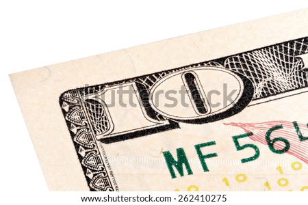 Stacked end isolated photo of detail 10 dollars bill. - stock photo