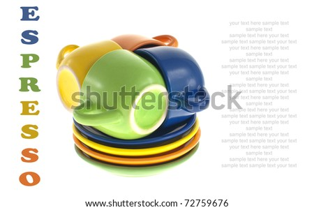 Stacked Espresso (Demitasse) Cups and Saucers Isolated on White with Copyspace - stock photo