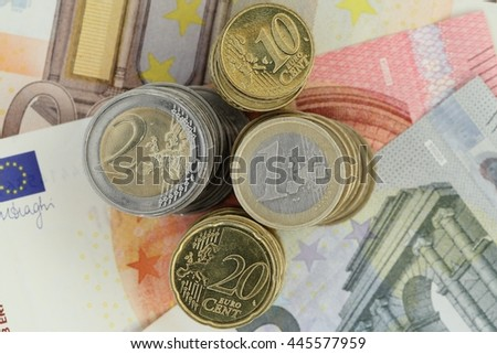 Stacked Euro and Cent - stock photo