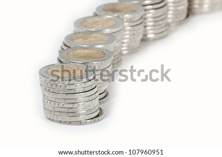 Stacked Euro-Coins isolated on white background