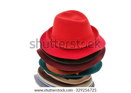 Stacked fedora hat  - stock photo