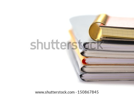 Stacked Files.Message on White background. - stock photo