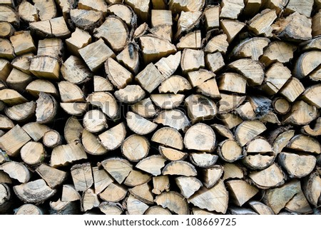 Stacked firewood background. Wood background