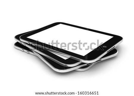 Stacked generic tablet PC / Touch panel computer with a blank screen, ready to overlay a custom screen or message.3d illustration - stock photo