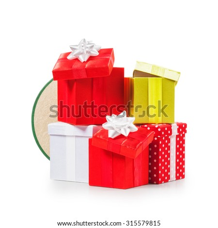 Stacked gift boxes with ribbon bow. Christmas present. Croup of objects isolated on white background. Clipping path