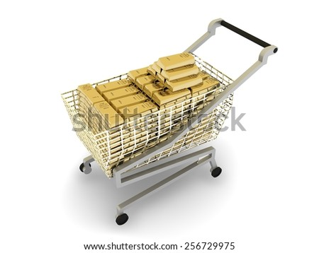 Stacked gold bars in  shopping cart,  isolated on white background - stock photo
