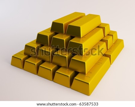 Stacked Gold Bars on white background - stock photo