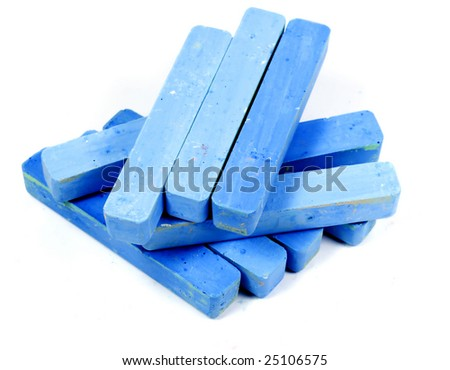 Stacked group blue chalk on white background