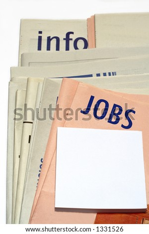 Stacked jobs newspapers on white background - stock photo