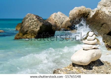 stacked limestone pebbles - stock photo