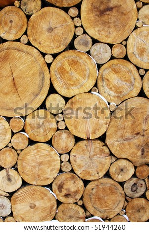 Stacked Logs Background - stock photo