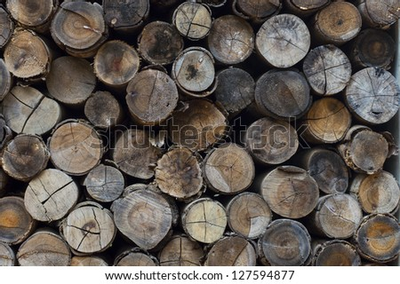 Stacked logs background texture.