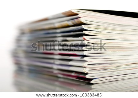 stacked magazines - stock photo