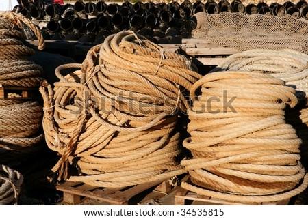 Stacked marine thread, professional fisherman stuff - stock photo