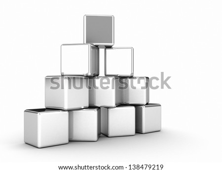 Stacked metal cubes business coneptual image - stock photo