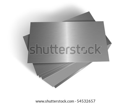 Stacked metal plates - stock photo