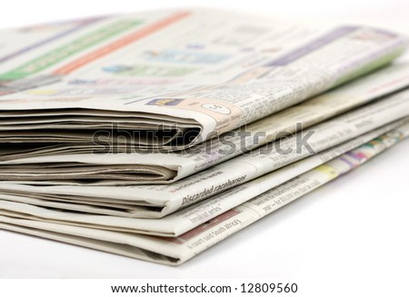 Stacked morning newspaper