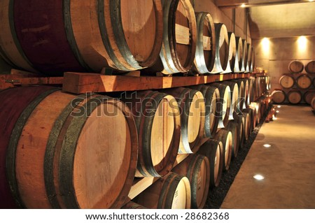 stacked oak wine barrels. Stacked Oak Wine Barrels In Winery Cellar D