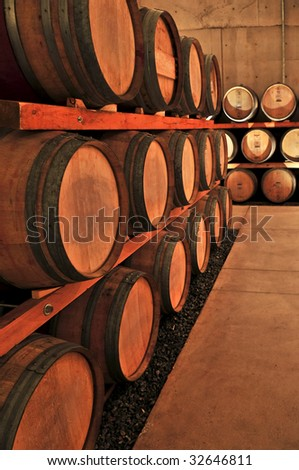 stacked oak wine barrels. Stacked Oak Wine Barrels In Winery Cellar N