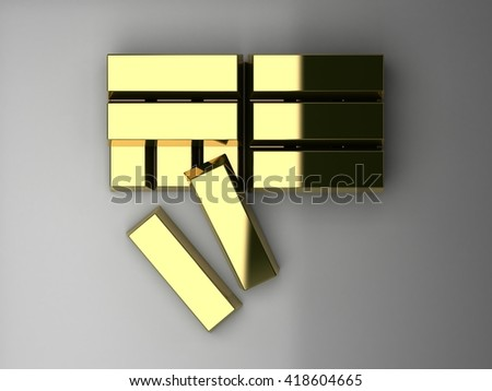 Stacked of Gold bars in top view, 3D illustration. - stock photo