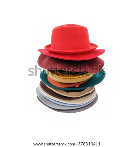 Stacked of many woman hat isolated  - stock photo