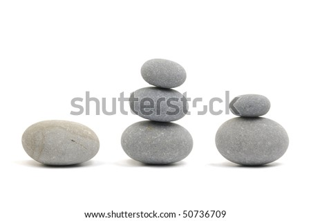 stacked of natural gray stones - stock photo