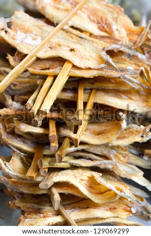 stacked of roasted dried fish