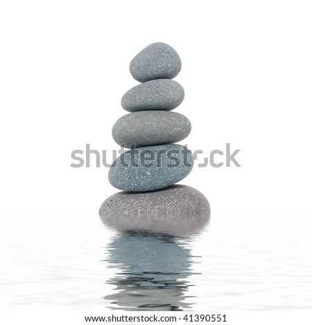 Stacked of stones with reflection - stock photo