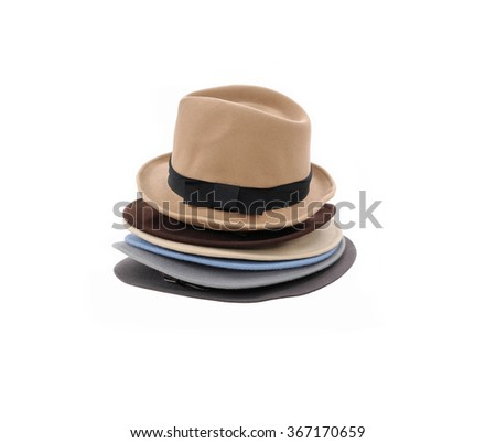 Stacked of Summer panama hat - stock photo