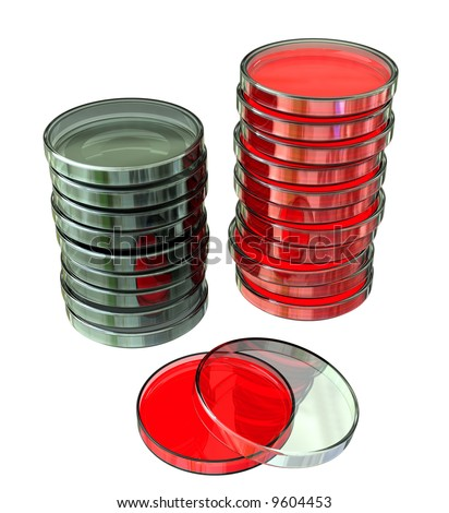 Stacked Petri Dishes - stock photo