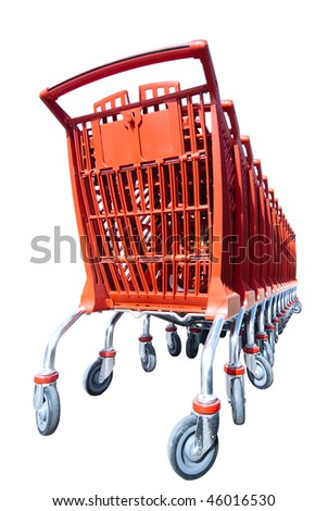 Stacked red shopping trolleys  isolated, a shoppers symbol - stock photo