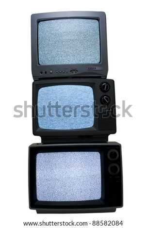 Stacked retro black and white television - stock photo